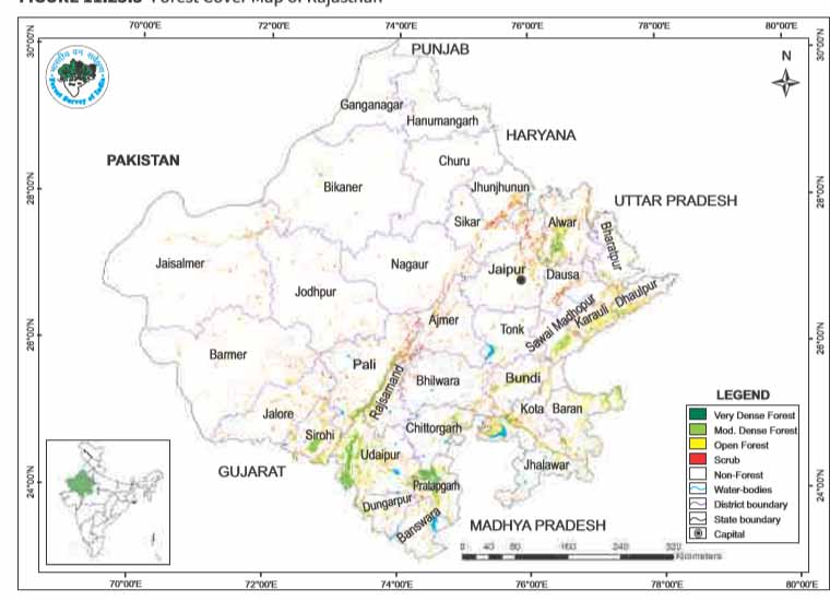 rajasthan map forest report